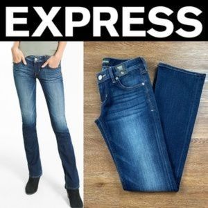 NEW EXPRESS LOW RISE DARK STRETCH BARELY BOOT JEAN